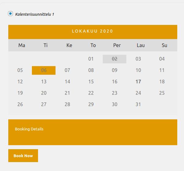 Nettiajanvaraus - malli kalenterinäkymästä.